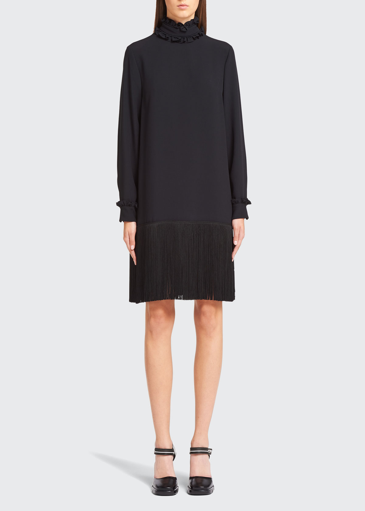 Prada Dresses HIGH-NECK FRINGE DRESS