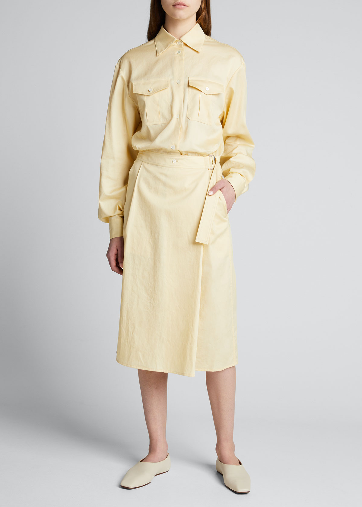 Lemaire BUTTON-DOWN COTTON TUCKED WRAP DRESS