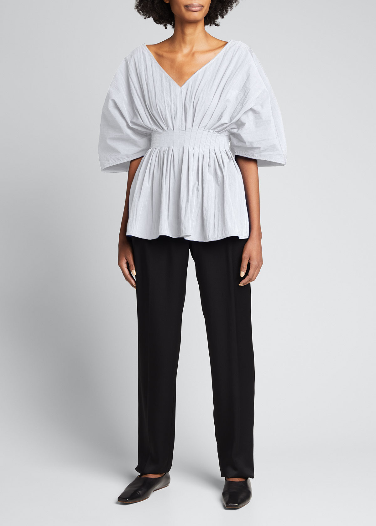 Co Cottons TUCKED-WAIST V-NECK BLOUSE