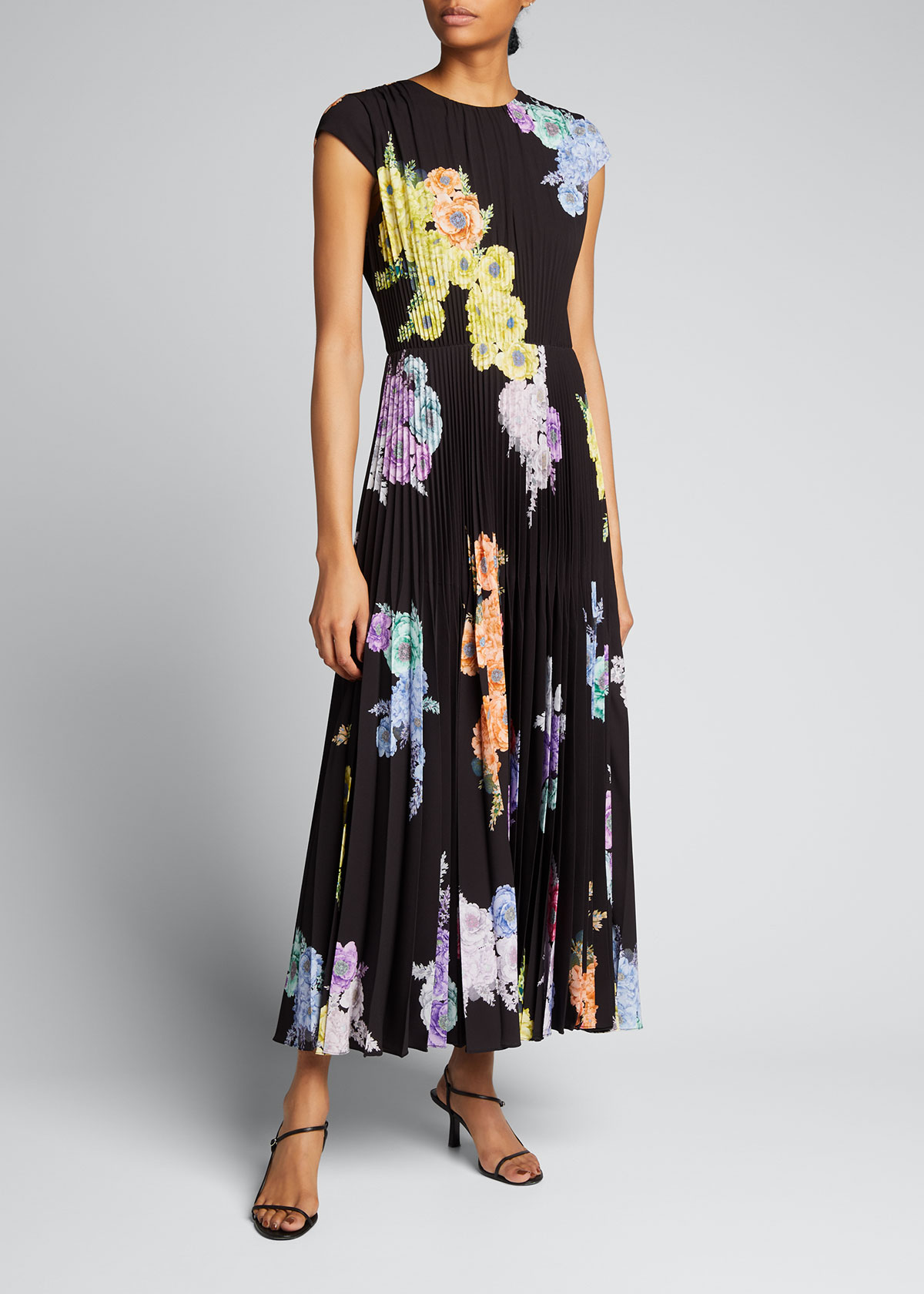 Jason Wu Collection FLORAL-PRINT PLEATED DAY DRESS