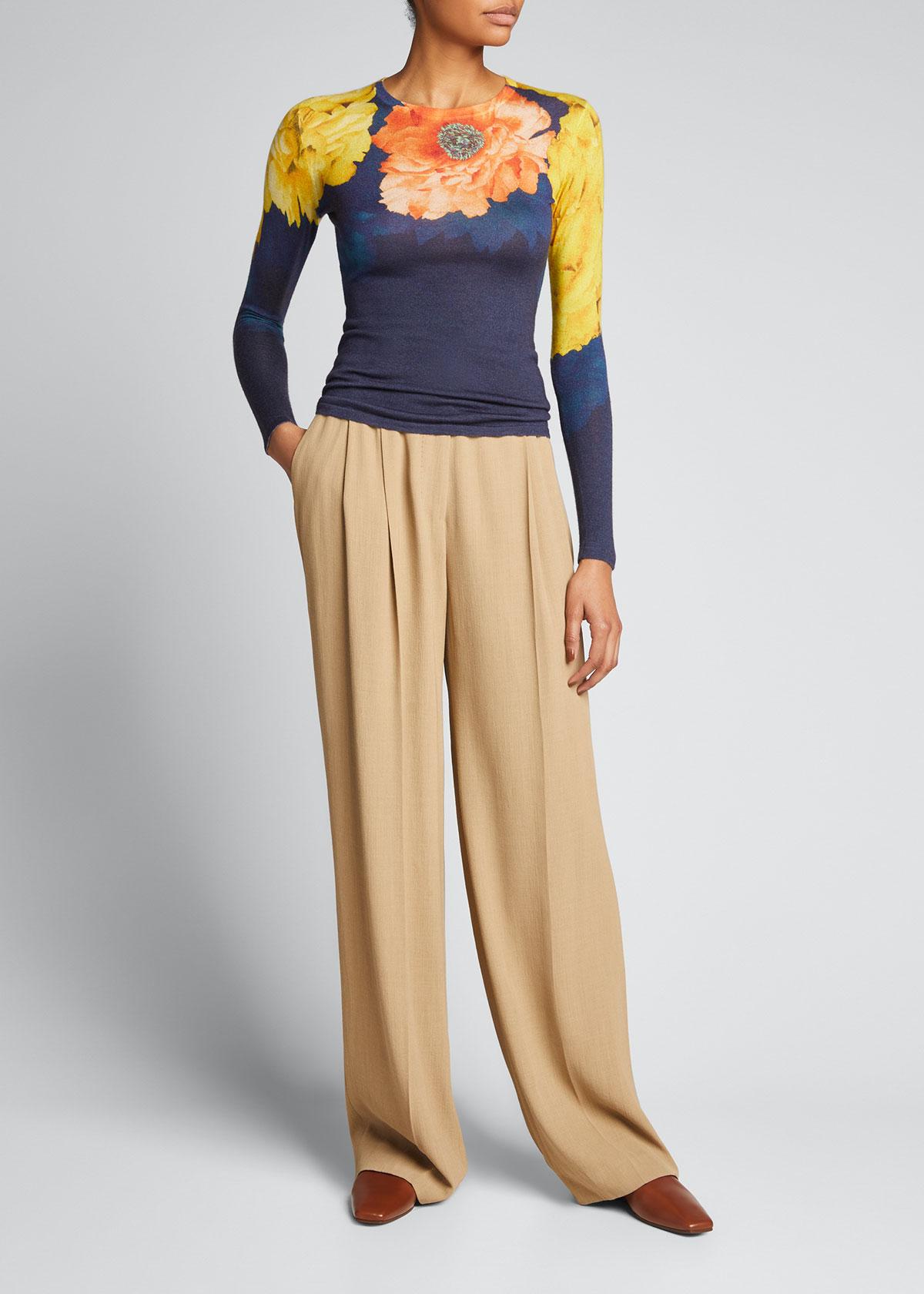 Jason Wu Collection Silks FLORAL-PRINT FINE-GAUGE SWEATER