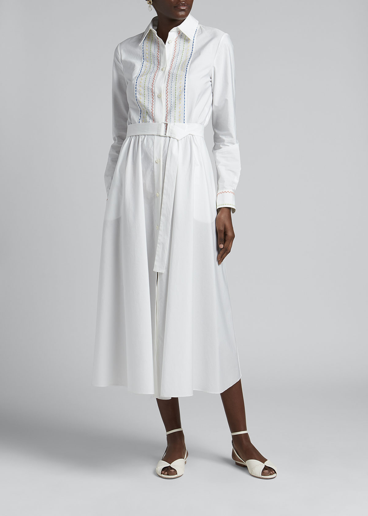 Loro Piana EMBROIDERED FIT-&-FLARE BELTED POPLIN DRESS