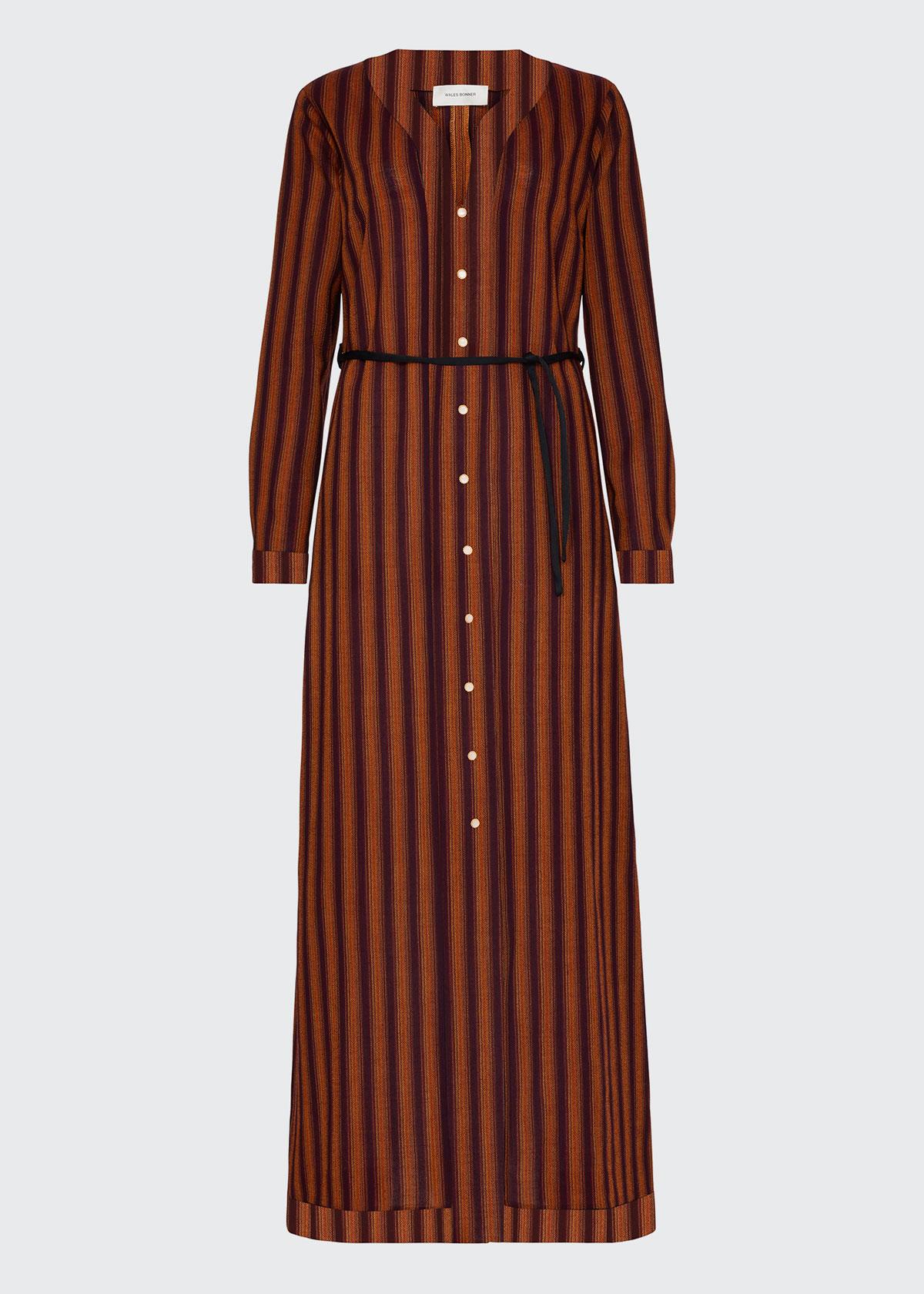 Wales Bonner KINGSTON STRIPED WOOL CAFTAN DRESS