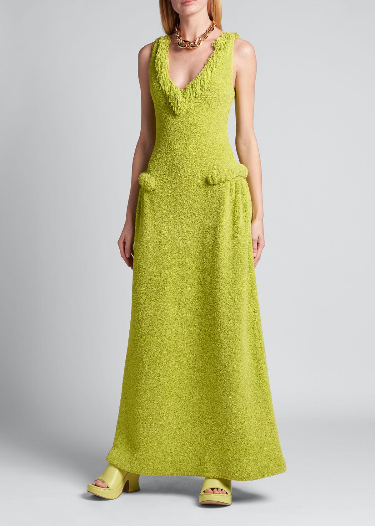 Bottega Veneta Gowns TOWELLING KNIT FRINGE A-LINE GOWN