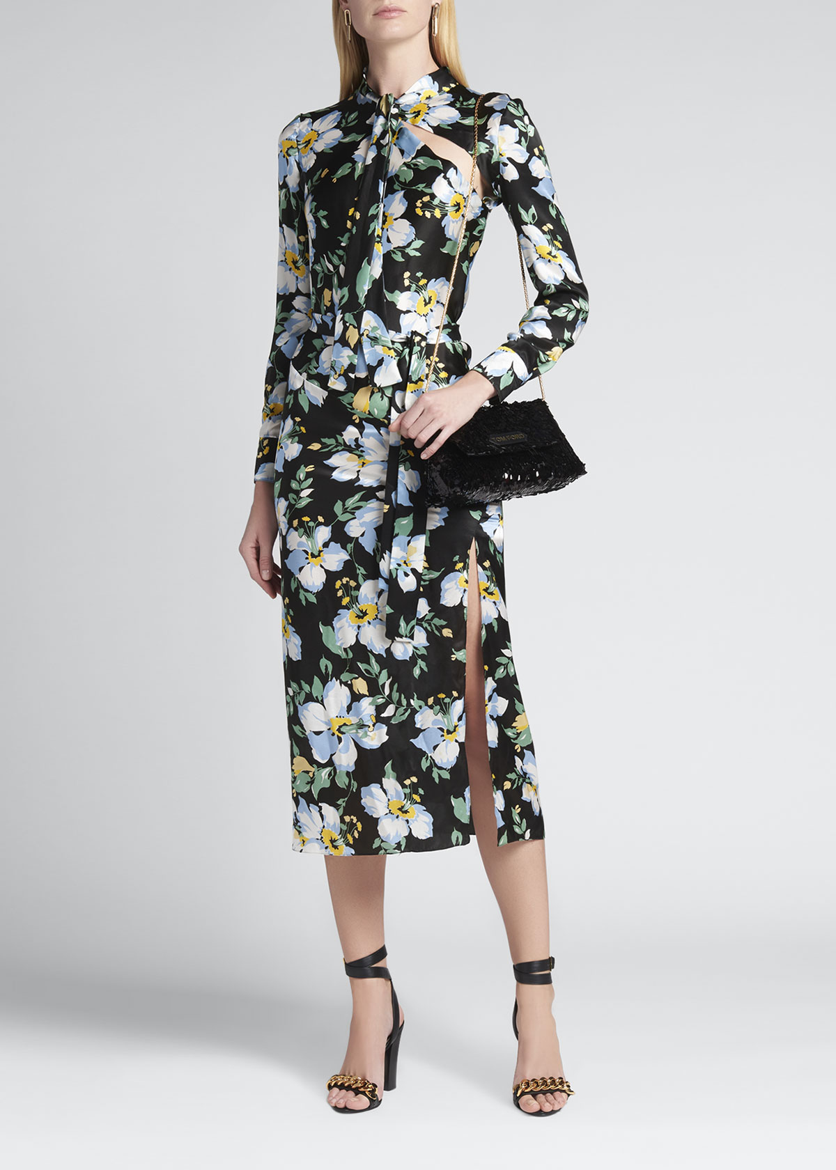 Tom Ford FLORAL TIE-NECK BELTED SILK MIDI DRESS