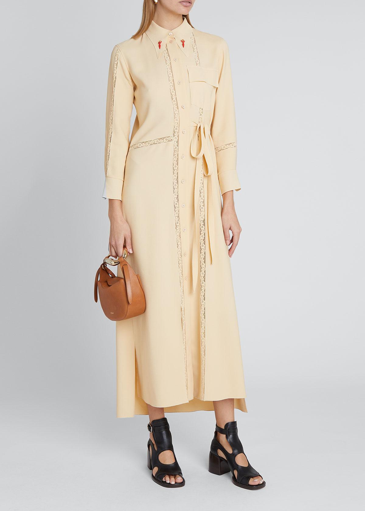 Chloé Midi dresses LACE-INSERT CREPE SHIRTDRESS