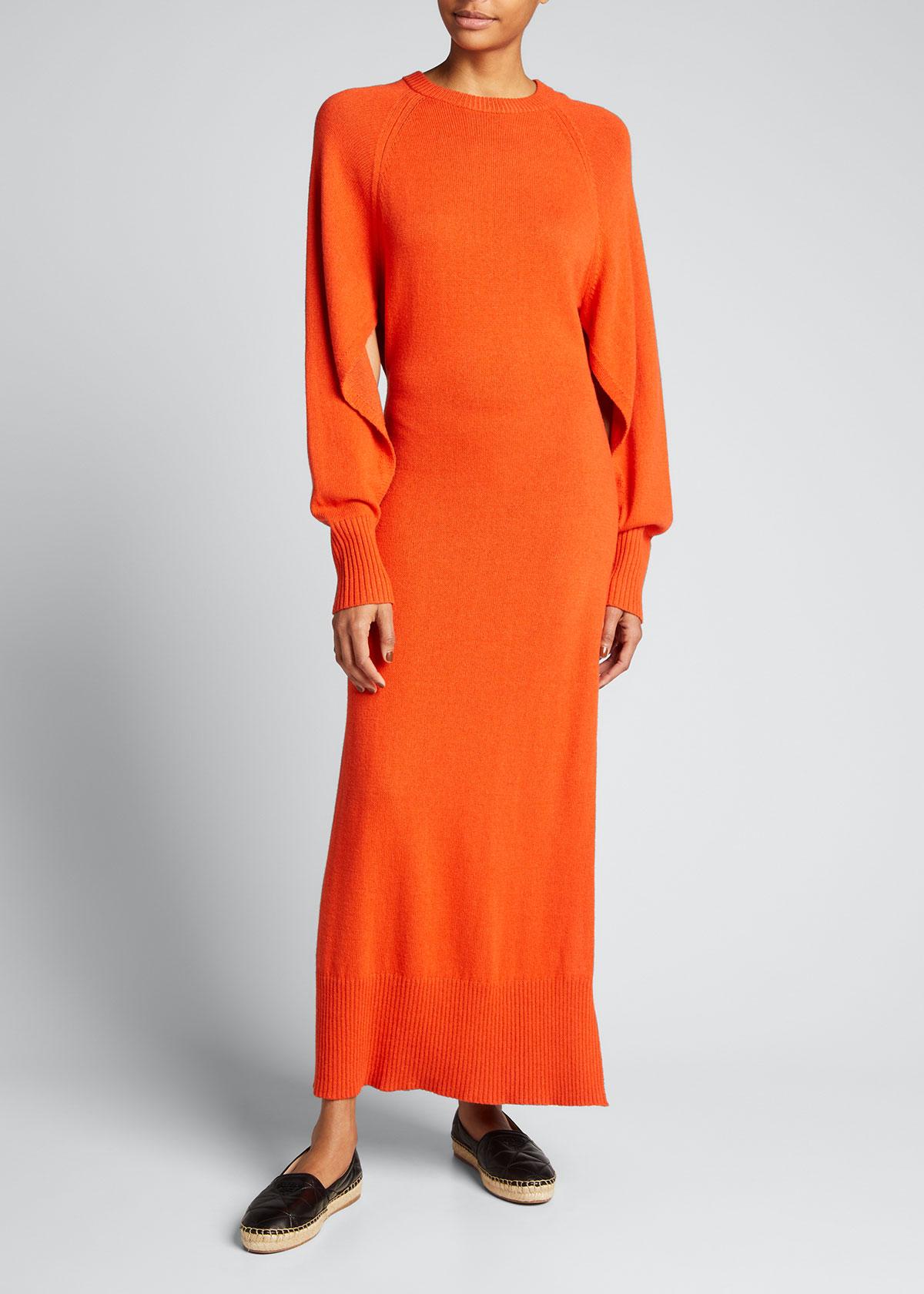 Altuzarra SLIT-SLEEVE WOOL-CASHMERE DRESS