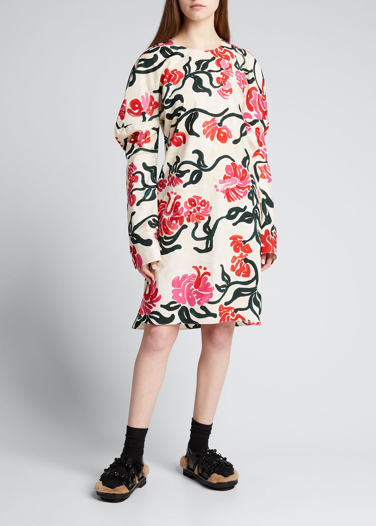 Marni Cottons FLORAL-PRINT LONG-SLEEVE TUNIC DRESS