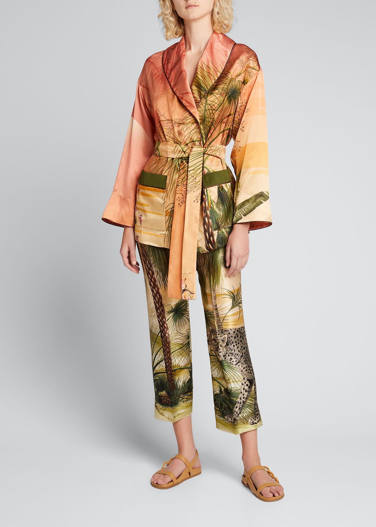 F.r.s For Restless Sleepers Silks JUNGLE-PRINT BELTED ROBE JACKET