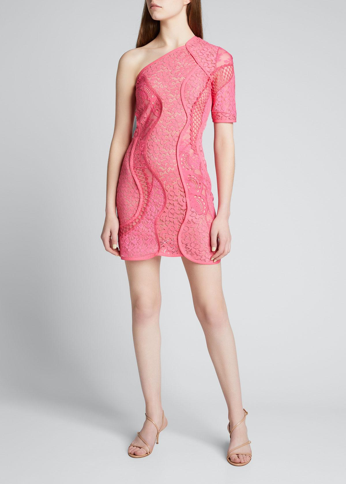 Stella Mccartney Mini dresses ONE-SHOULDER LACE MINI DRESS