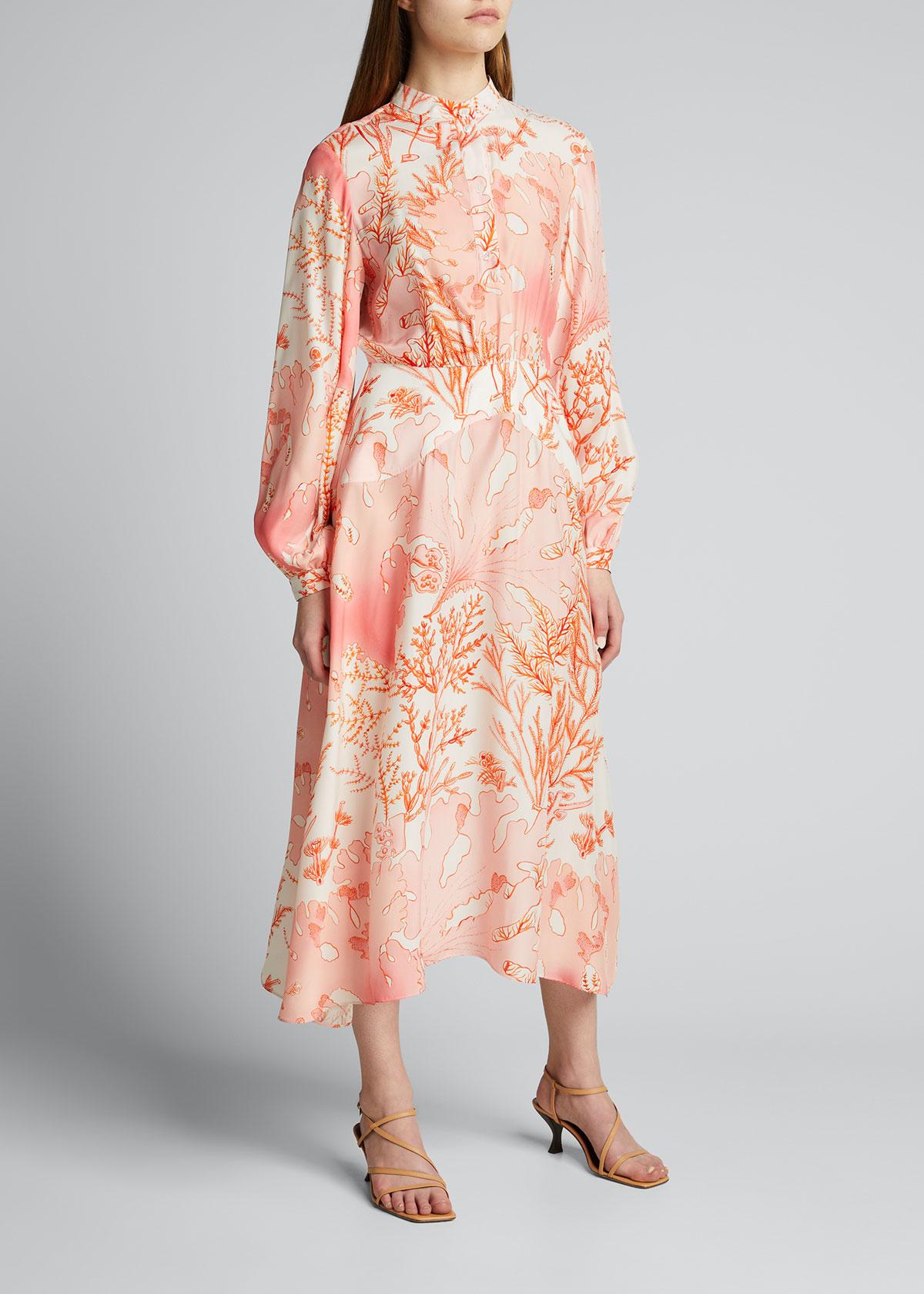 Stella Mccartney Clothing CORAL-PRINT SILK MAXI DRESS