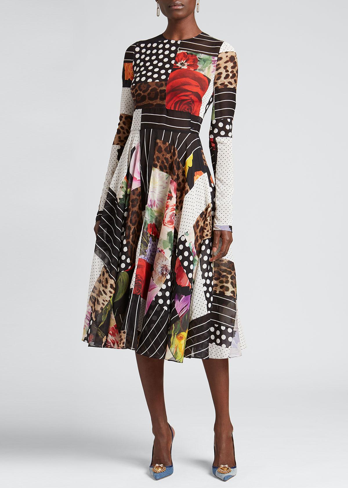 Dolce & Gabbana Downs PATCHWORK PRINT FIT-&-FLARE MIDI DRESS