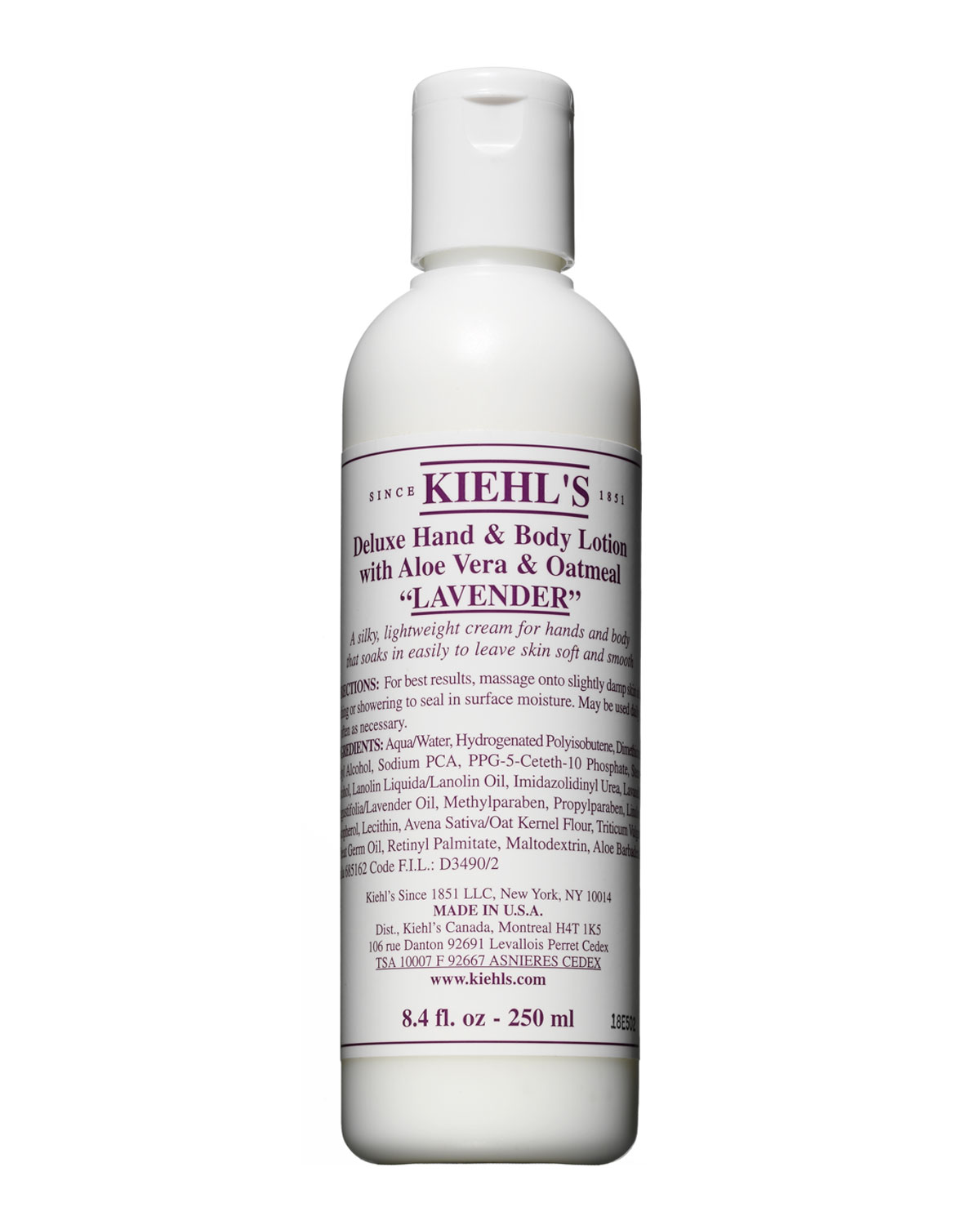 Kiehl's Since 1851 1851 Grapefruit Deluxe Hand & Body Lotion With Aloe Vera & Oatmeal, 8.4 oz In Lavender