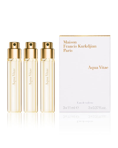 Aqua Vitae Eau de Toilette Travel Spray Refills, 3 x 0.37 oz./ 11 mL