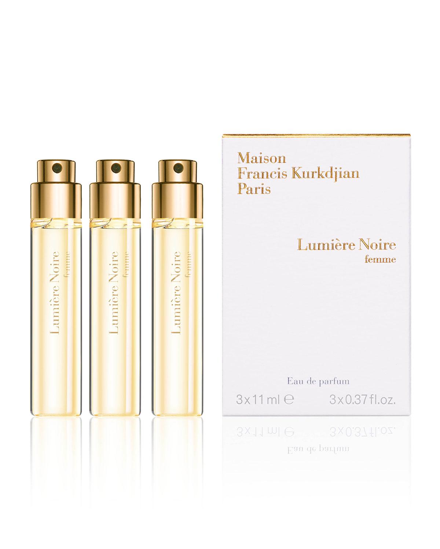 Maison Francis Kurkdjian LUMIERE NOIRE FEMME EAU DE PARFUM TRAVEL SPRAY REFILLS, 3 X 0.37 OZ./ 11 ML