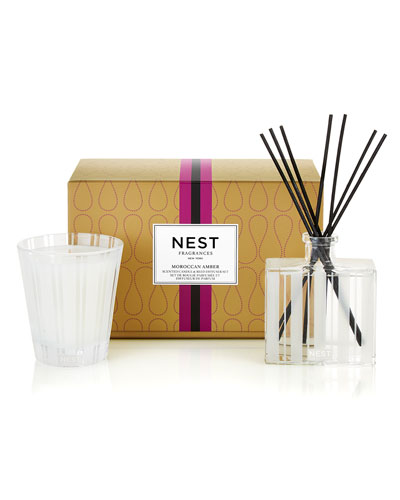 Classic Candle & Reed Diffuser Set - Moroccan Amber ($82 Value)