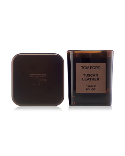 Tuscan Leather Candle & Holder Set