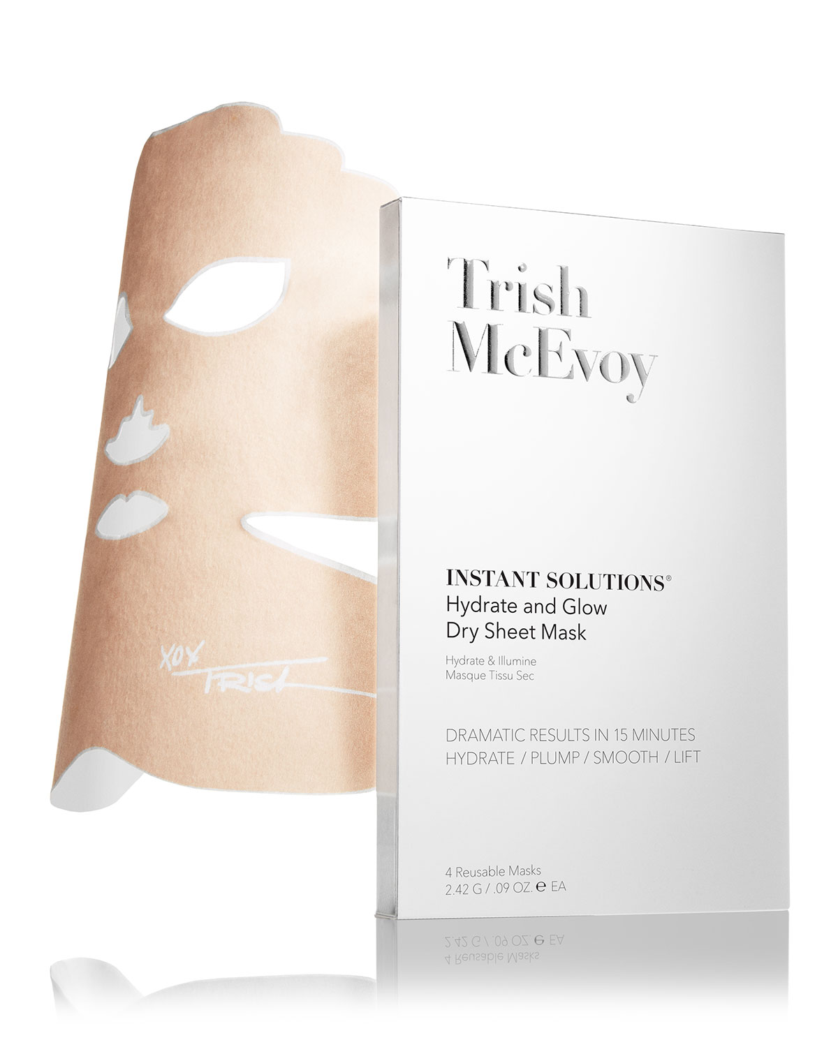 Trish Mcevoy INSTANT SOLUTIONS HYDRATE & GLOW DRY SHEET MASK, 4 PACK