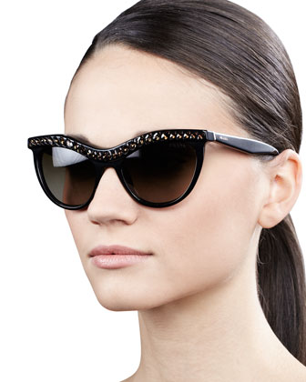 Crystal-Encrusted Cat-Eye Sunglasses, Black