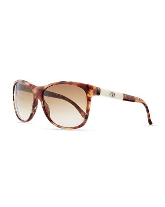 Square Sunglasses, Brown/Beige