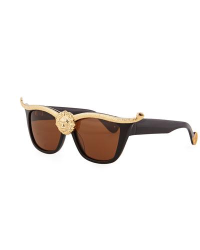 Lioness Sunglasses, Gold/Black