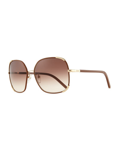 Nerine Oversized Sunglasses with Leather, Gold/Biscuit