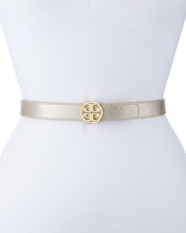 Reversible Leather Logo Belt, Gold/Silver