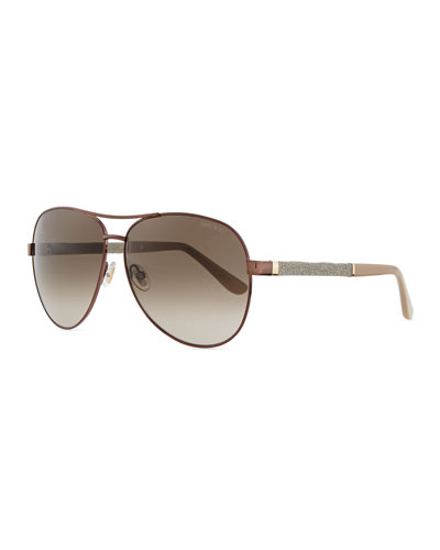Lexi Aviator Sunglasses with Crystal Temples, Bronze