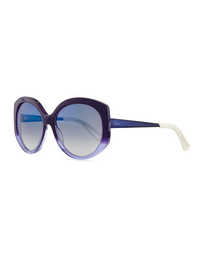 Ombre Plastic Round Sunglasses, Purple/Blue