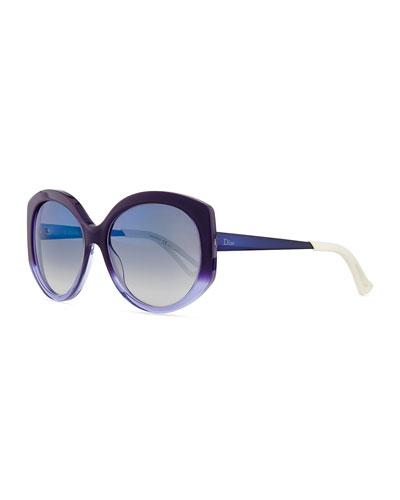 Ombre Plastic Round Sunglasses, Purple/Blue