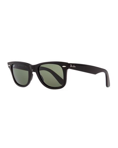 Classic Wayfarer Sunglasses, Black/Green Lens