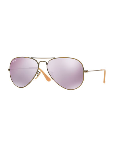 Mirrored Aviator Sunglasses, Lilac