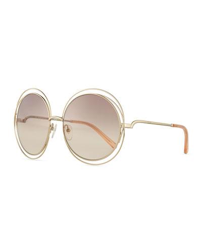 Carlina Round Wire Metal Sunglasses, Golden/Peach