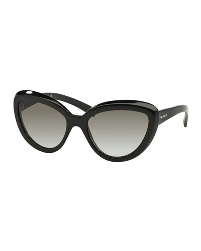 Thick-Rim Cat-Eye Sunglasses, Black