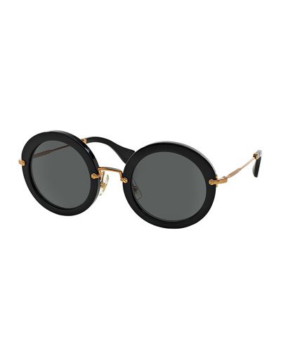 Round Acetate Sunglasses, Black