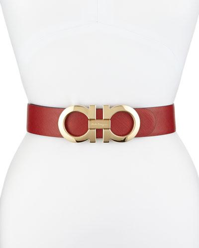 4.5cm Reversible Double-Gancini Belt, Red/Black