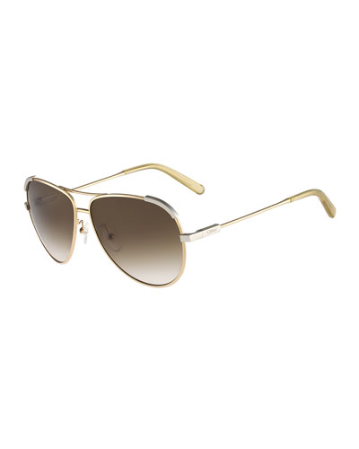 Eria Aviator Sunglasses, Light Gold