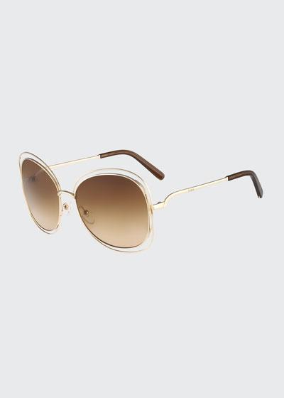 Chloe Carlina Butterfly-Frame Sunglasses, Rose Golden
