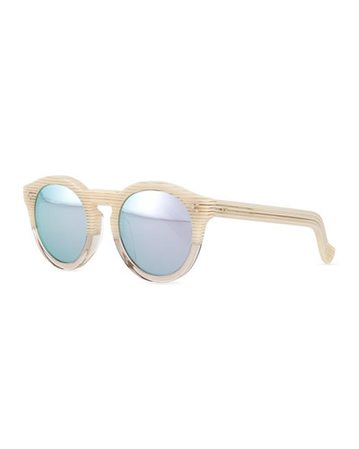 Leonard II Round Bicolor Sunglasses, Cream/Clear
