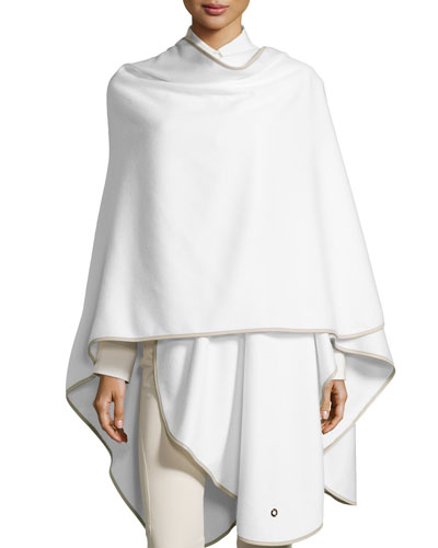 Mantella Regina Cashmere Cape, White/Gray