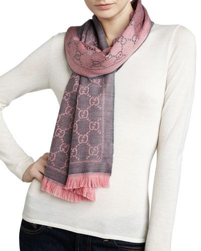 Logo-Print Wool Scarf, Graphite/Pink