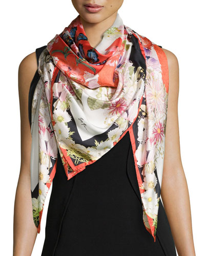 Chloris Floral-Print Square Silk Scarf, Red