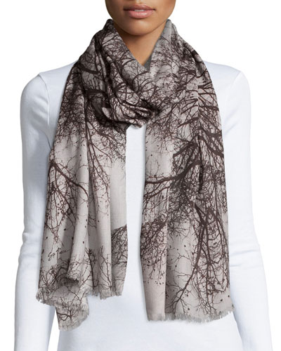 Hamadryad Tree-Print Scarf, Gray Floral