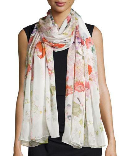 Flora Silk Chiffon Scarf
