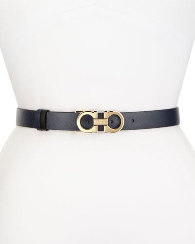 Reversible Gancini-Buckle Leather Belt, Oxford Blue