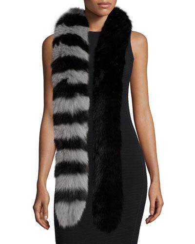 Candy Cane Fox Fur Scarf, Black/Gray