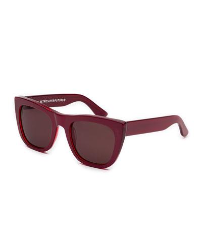 Gals Square Sunglasses, Metallic Red
