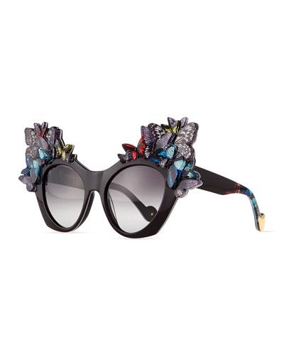 3D Glitter Butterfly Sunglasses