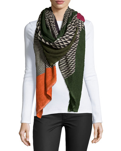 Geometric-Pattern Fan Scarf, Multicolor