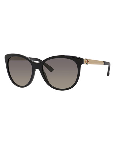 Plastic & Metal Cat-Eye Sunglasses, Black